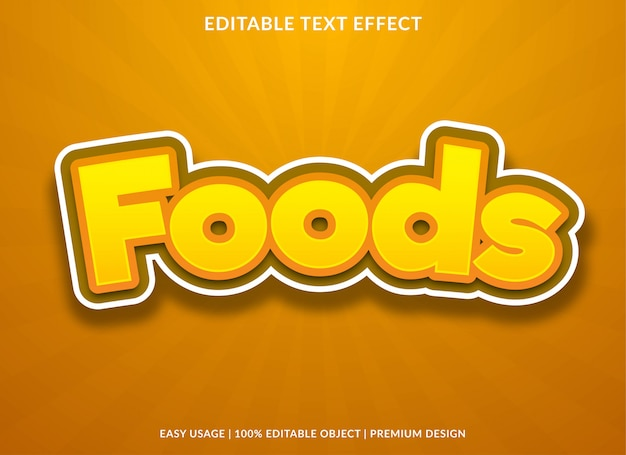 Foods text effect effect with cartoon style