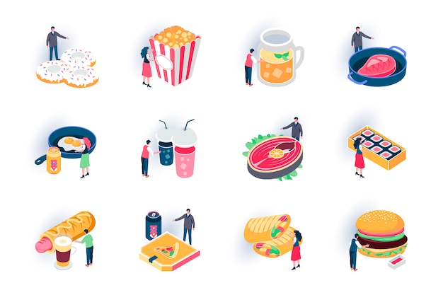Foodstuffs isometric icons set. restaurant fast food menu, takeaway delicious meal flat illustration. hot dog, donuts, sushi, burger and steak 3d isometry pictograms with people characters.