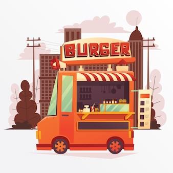 Иллюстрация гамбургер foodtruck