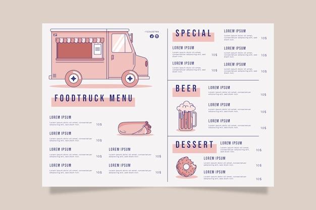 Шаблон меню ресторана для foodtruck