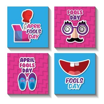 Fools day celebration festive pranked icons set
