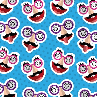 Fools day mask mustache tongue out silly glasses pattern