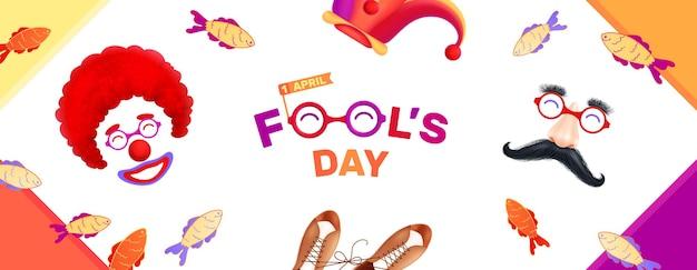 Fools day realistic illustration
