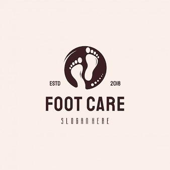 Foot care logo vintage retro style logo designs vector
