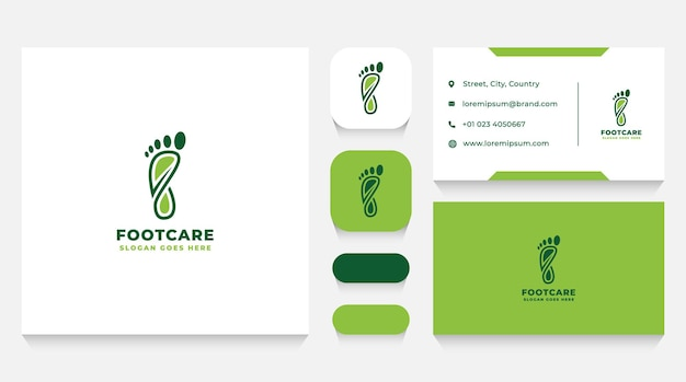 Foot health care logo template and business card