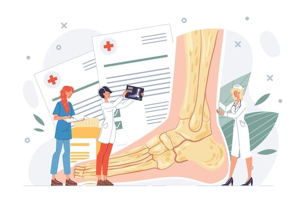 足または足首の検査。下肢外傷、病理疾患、不快感、または捻挫の診断、治療手順。足病医医師看護師チーム。体の健康管理、リハビリテーション。外傷学