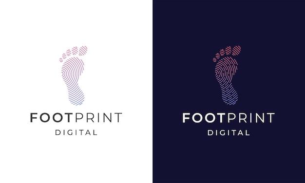 Foot print digital logo icon design template flat vector illustration