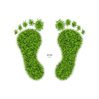 Foot print made of green grass.illustration