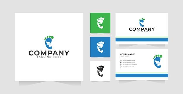 フットステップのロゴデザインのインスピレーションと名刺