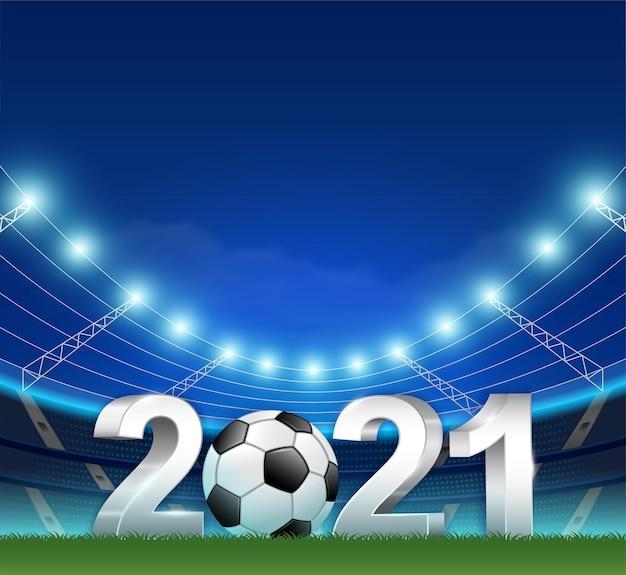 Football 2021 3d banner template for sport soccer