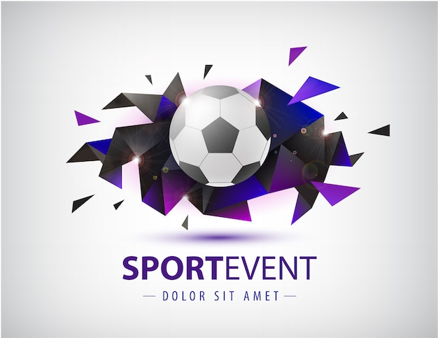 Футбольный абстрактный шаблон для футбольных обложек, баннеров, спортивных плакатов, плакатов и листовок с мячом. изолированная грань геометрической формы.