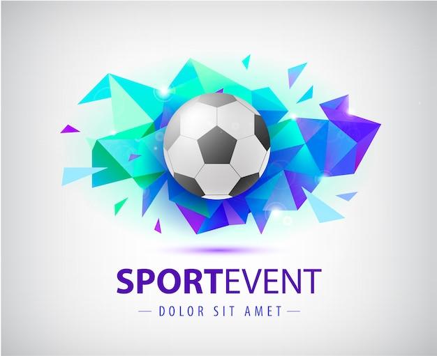 サッカーカバー、バナー、スポーツプラカード、ポスター、ボール付きチラシのサッカー抽象テンプレート。分離されたファセットの幾何学的形状。