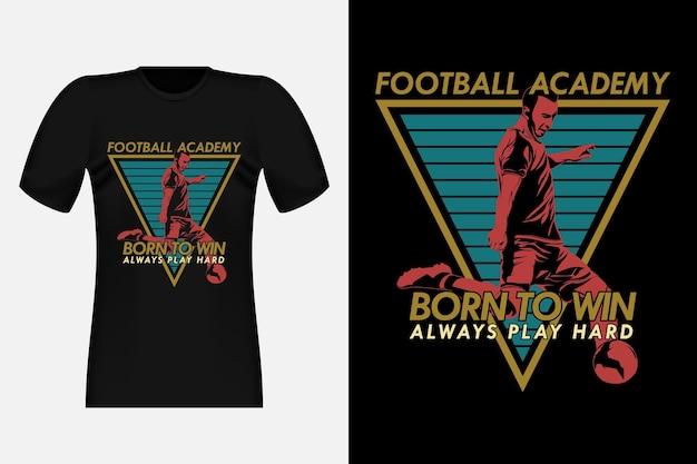 シルエットヴィンテージtシャツデザインを獲得するために生まれたサッカーアカデミー
