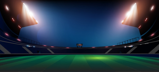 Football arena field with bright stadium lights illumination
