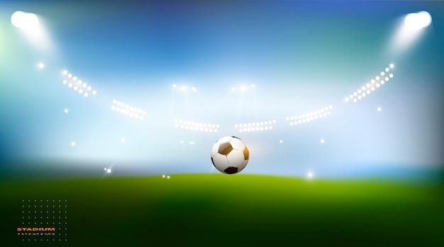Футбольная арена. спортивный стадион с фоном огней
