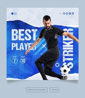 Football athlete flyer social media post template