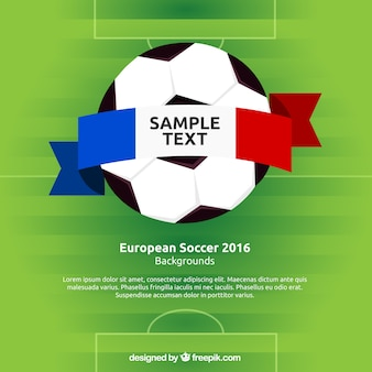 Football background with france ribbon Free Vector
