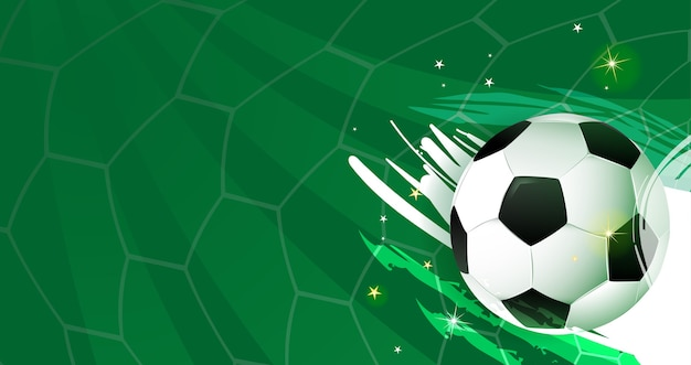 Football ball on abstract soccer green background