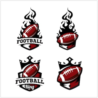 Football ball fire and king badge logo