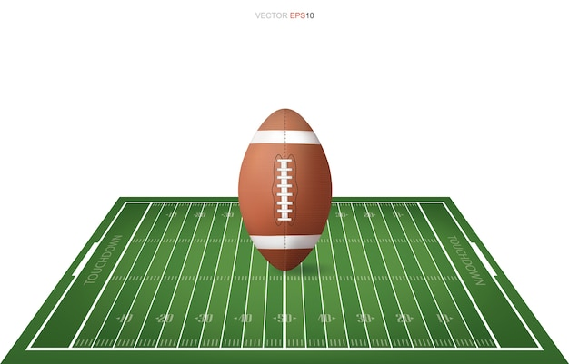 Football ball on football field with line pattern area for background