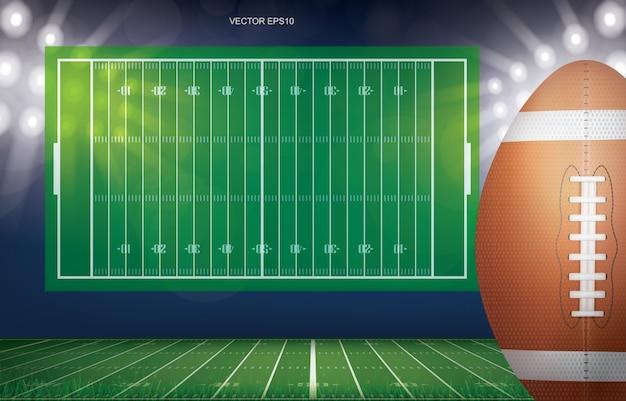 Football ball on football field.