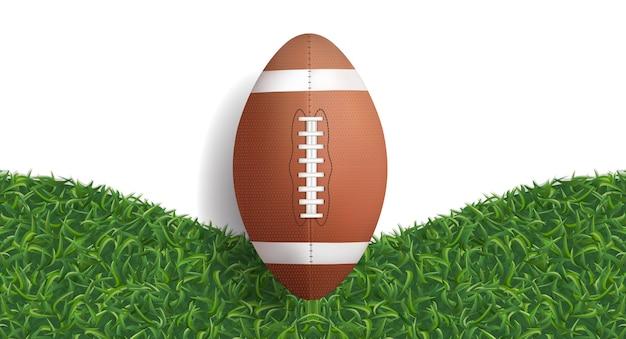 Football ball and green grass.