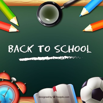 Football ball and school material with blackboard
