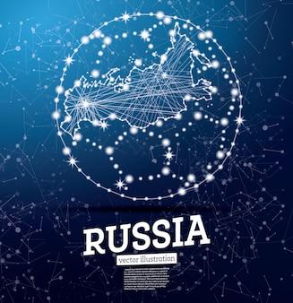 Футбольный мяч с картой россии на синем фоне. векторные иллюстрации.