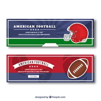 Football banners with helmet and ball