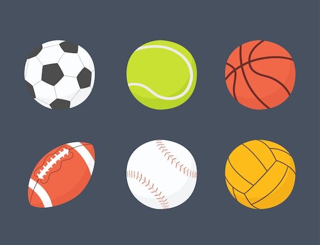 Футбол, баскетбол, бейсбол, теннис, волейбол, мячи для водного поло. рисованной иллюстрации в мультяшном и плоском стиле на темном фоне