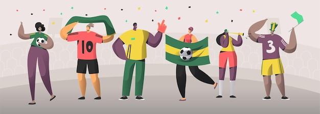 サッカーブラジルファンチームセットイラスト。幸せな友達はブラジルのサッカーイベントの勝利を祝います。男女キャラクターホールドフラグ、スタジアムの背景のスカーフフラット漫画ベクトルバナー