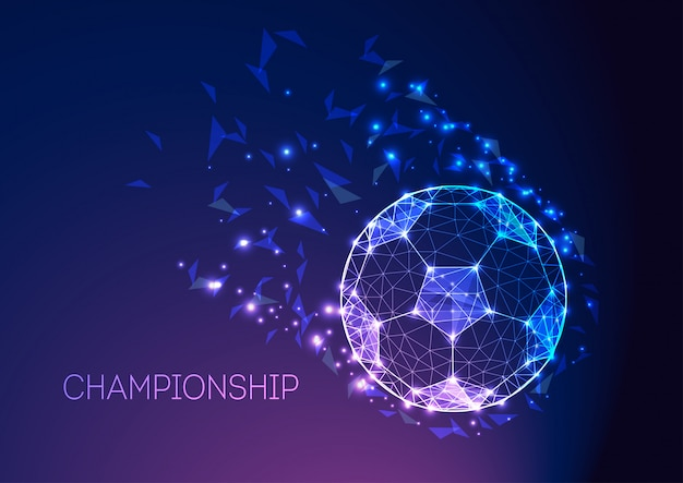 Football championship concept with futuristic soccer ball on dark blue purple gradient.