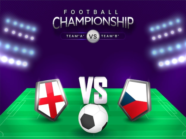 Football championship concept with participate teams flag shield of england vs czech on stadium view.