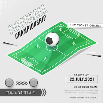 Football championship concept with two participate team playing on playground or stadium.