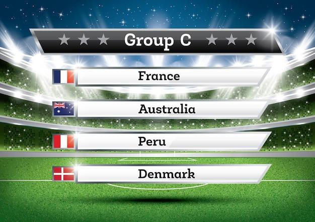 Результат группы c чемпионата по футболу