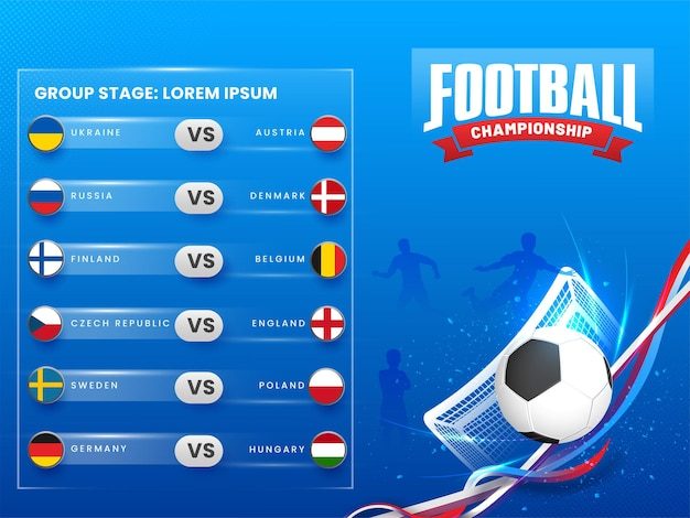 Football championship group stage with realistic soccer