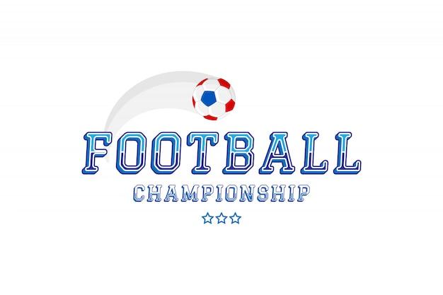 Чемпионат по футболу. логотип с оригинальной надписью шрифта и мячом.