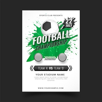 Football championship poster design with green brush effect.