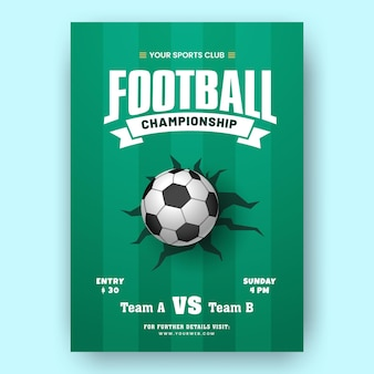 Football championship template or brochure design in green color