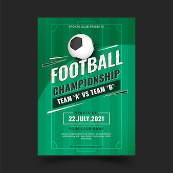 Football championship template design in green color.