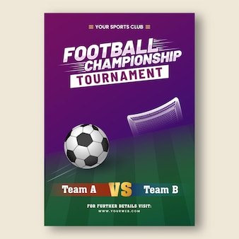 Football championship tournament poster design with participate team a vs b in purple and green color