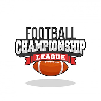 Football championshipn league text with american soccer ball on white background.