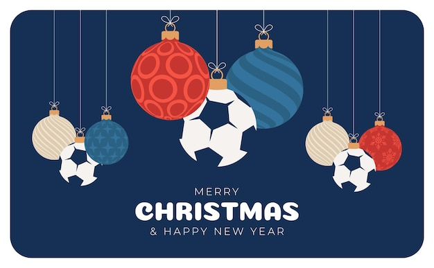 Football christmas greeting card. merry christmas and happy new year flat cartoon sports banner. soccer ball as a xmas ball on background. vector illustration.