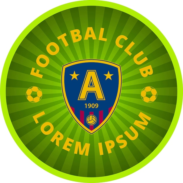 Football club emblem in a circle. vector tamplate. green icon on a white background.