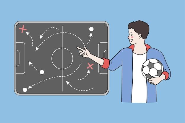 축구 코치는 선수를 위해 보드에 지시를 제공