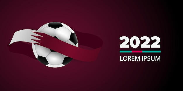 Football competition. qatar flag. soccer ball and background. realistic vector illustration.