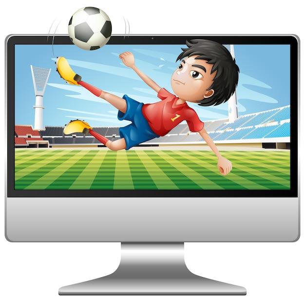 Football on computer desktop screen