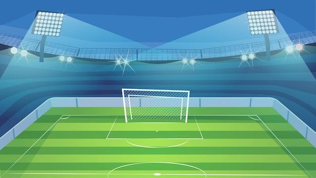 ウェブの背景のサッカーコートフラット漫画スタイルのイラスト