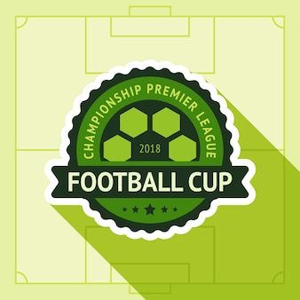 Football cup badge in football field
