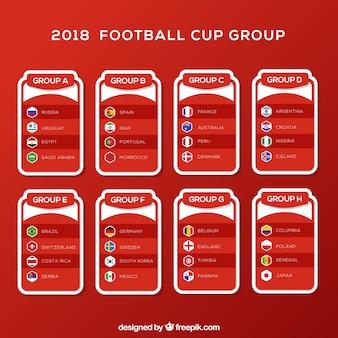 Gruppi di coppa di calcio in stile piatto